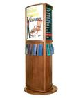 Rotating 3-Sided Wood Kiosk with Literature Pockets