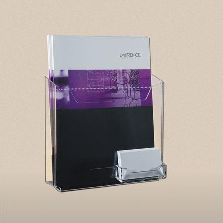 1 pocket literature holder wbusiness card pocket clear acrylic clear acrylic 1 pocket wbusiness card pocket literature holder for 8 12 wide brochures colourmoves