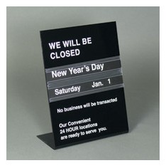 1 Sided Perpetual Holiday Closing Schedule Sign Counter
