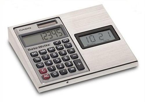 """Clock-Calendar and Calculator. Size: 5"""" x 5-3/4"""". - U.S ..."""
