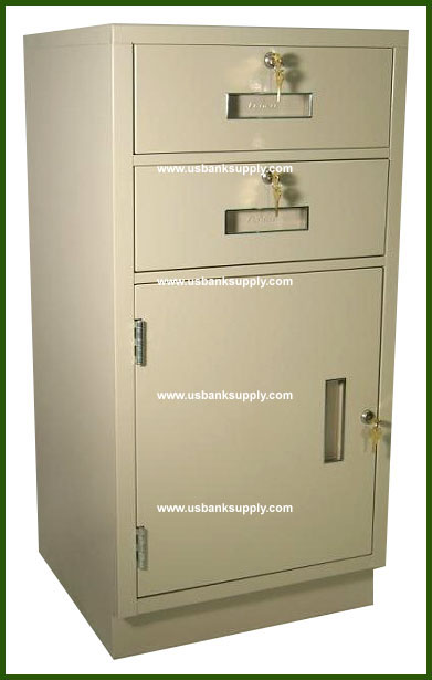 Standing Height Teller Pedestal With 2 Drawers And 1 Cabinet With Inside  Adjustable Shelf