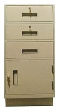 Standing Height Teller Pedestal: 3 Drawers plus Storage Cabinet