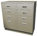 "Standing Height Double Wide Teller Pedestal, 6 ""S"" Drawers"