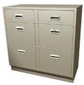 Standing Height Double Wide Teller Pedestal, 4 File Drawers
