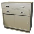 "Standing Height Double Wide Teller Pedestal, 2 ""D"" Drawers"