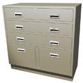 "Standing Height Double Wide Teller Pedestal, 3 ""D"" Drawers"