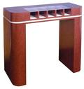 One-Sided Check Desk with curved counter & 5 compartments