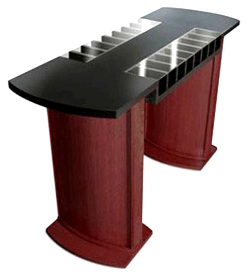 Two Sided Curved Laminate Check Desk With 16 Compartments