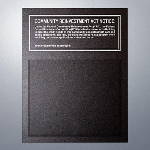 Community Reinvestment Act Magnetic Mandatory Sign (FDIC Banks) -- Black 11x14