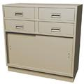 "Double-Wide Standing Height Teller Pedestal, 4 ""S"" Drawers"