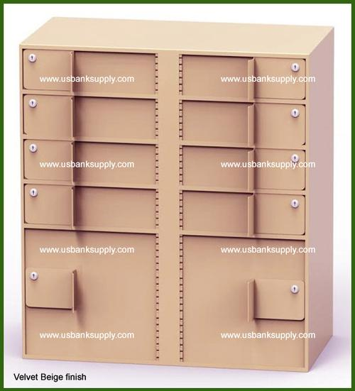 Double-Width Vault Interior Unit with 8 Teller Lockers and 2 Coin Cabinets - Main Image