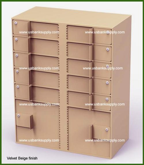 Double-Width Vault Interior Unit with 10 Teller Lockers and 2 Coin Cabinets - Main Image
