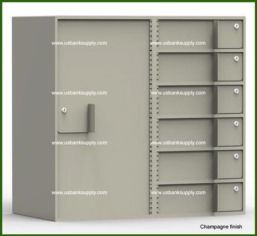 Double-Width Vault Interior Unit with 6 Teller Lockers and 1 Tall Storage Cabinet - Main Image