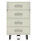 Four-Drawer Teller Truck with 4 Drawers and Foot Brake