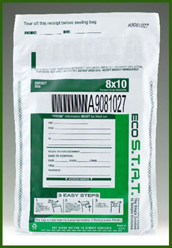 US Green ECO STAT  Tamper-Evident High Security Deposit Bags -- White - Main Image