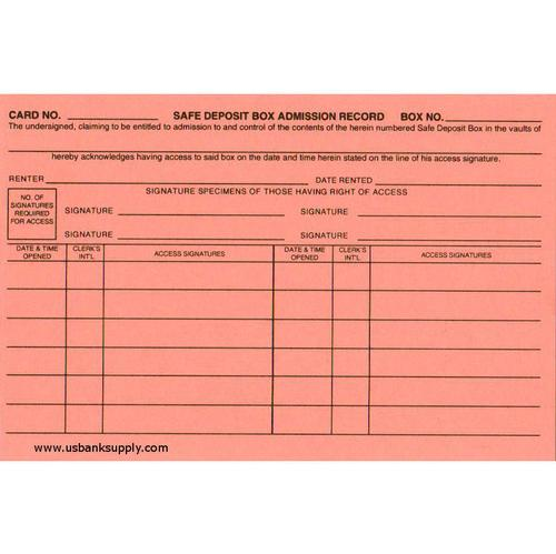 Safe Deposit Box Admission Record Cards Two Sided Pack