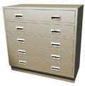 "Double Wide Standing Height Teller Pedestal, 5 ""D"" Drawers"