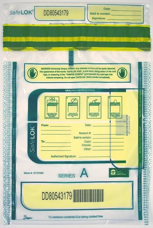 SafeLok Tamper-Evident High-Security Currency and Coin Bags (Clear) - Main Image