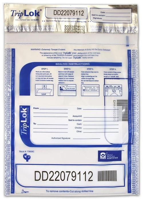 Triplok Tamper-Evident, High-Security Currency and Coin Bags (Clear) - Main Image