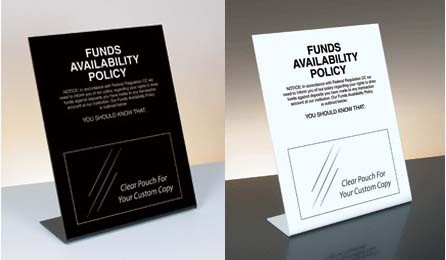 Funds Availability Policy Mandatory Countertop Sign U S