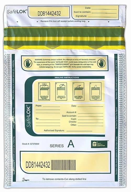 SafeLok Tamper-Evident High-Security Currency and Coin Bags (White) - Main Image