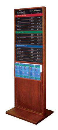 TWO SIDED CLASSIC DISPLAY WITH 5-POCKET BROCHURE HOLDER AND ONE 22x36 RATE DISPLAY