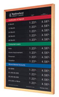 Magnetic Bank Rate Board 22 x 36