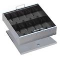10 Compartment Cash Tray With Cover; black, sand, gray