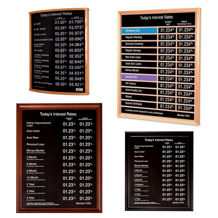 Signs & Displays, Rate and Letter Boards